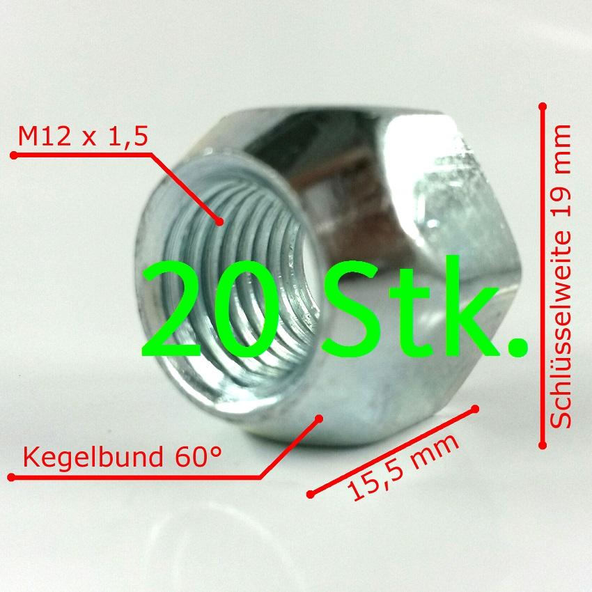 ford radmuttern radmutter m12 x 1,5 für ford stahlfelgen 16 stück